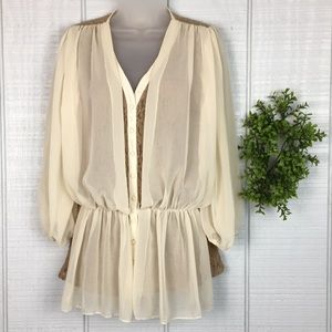 Anthropologie a'reve Cream/Taupe Lace Blouse